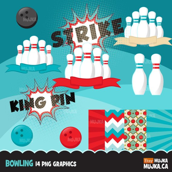 Bowling Clipart. Bowling party graphics, bowling ball, pins, strike.