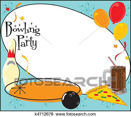 Kids Bowling Party Invitation Clip Art.