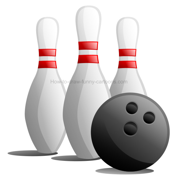 How to draw a bowling clip art illustration.