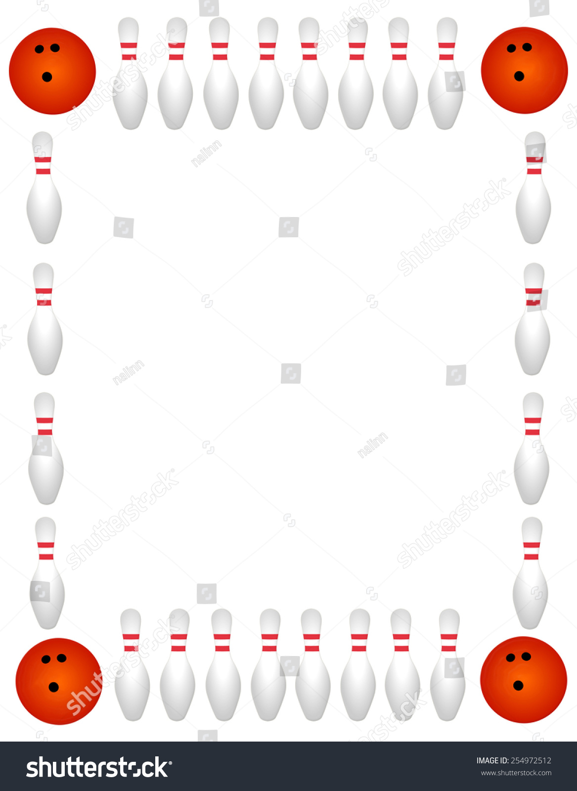 Bowling Pins Ball Border On White Stock Vector (Royalty Free) 254972512.