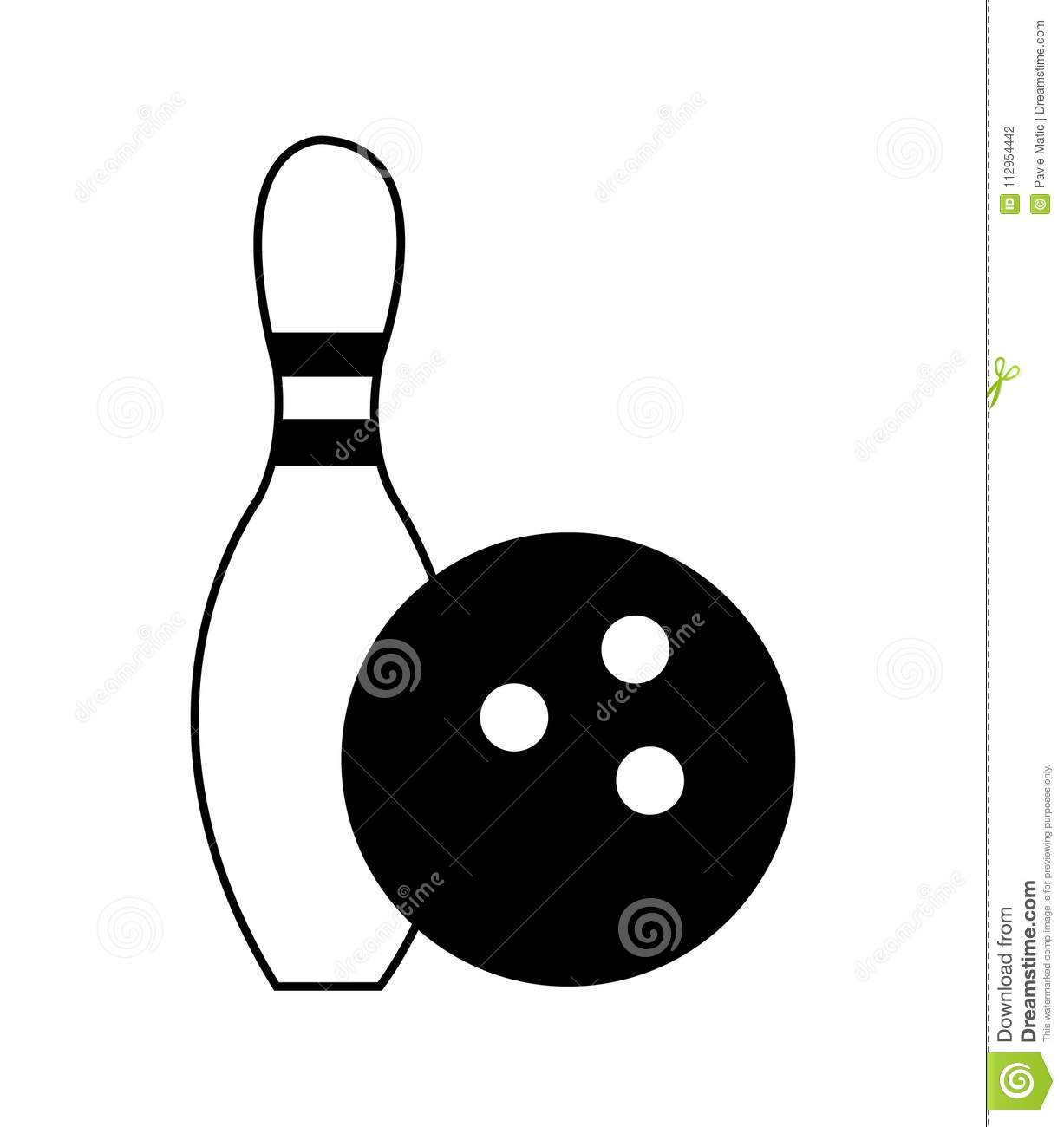 Simple, Black And White Bowling Pin Icon Stock Vector.