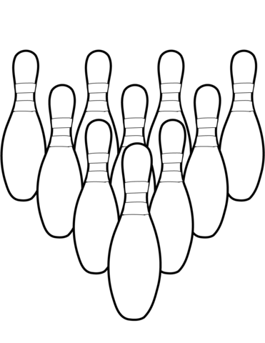 Ten Bowling Pins coloring page.