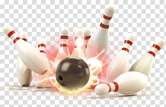Black bowling ball crashed bowling pins, Bowling Strike transparent.