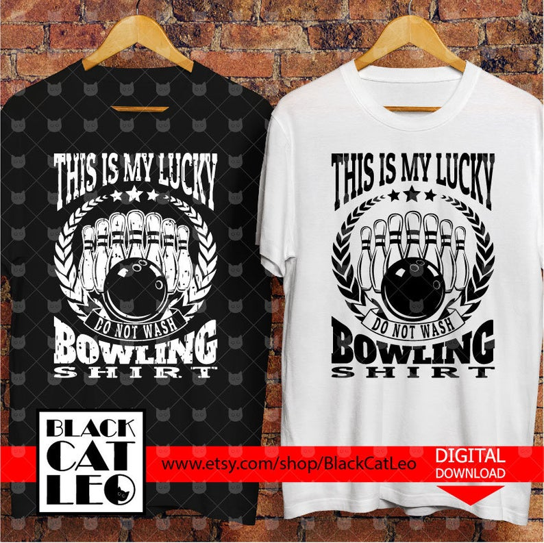 Bowling svg, Bowling cut file, This is my lucky Bowling shirt, Sport vector  clip art, Grunge distressed bowling design, Bowling ball & puns.