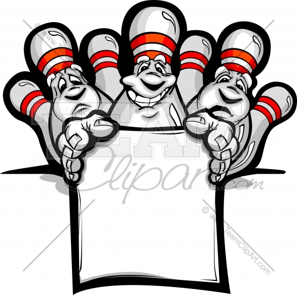 Happy Bowling Pins with Sign Cartoon Vector Illustration.