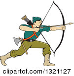Clipart of a Colorful Athlete Archery Bowman Aiming.