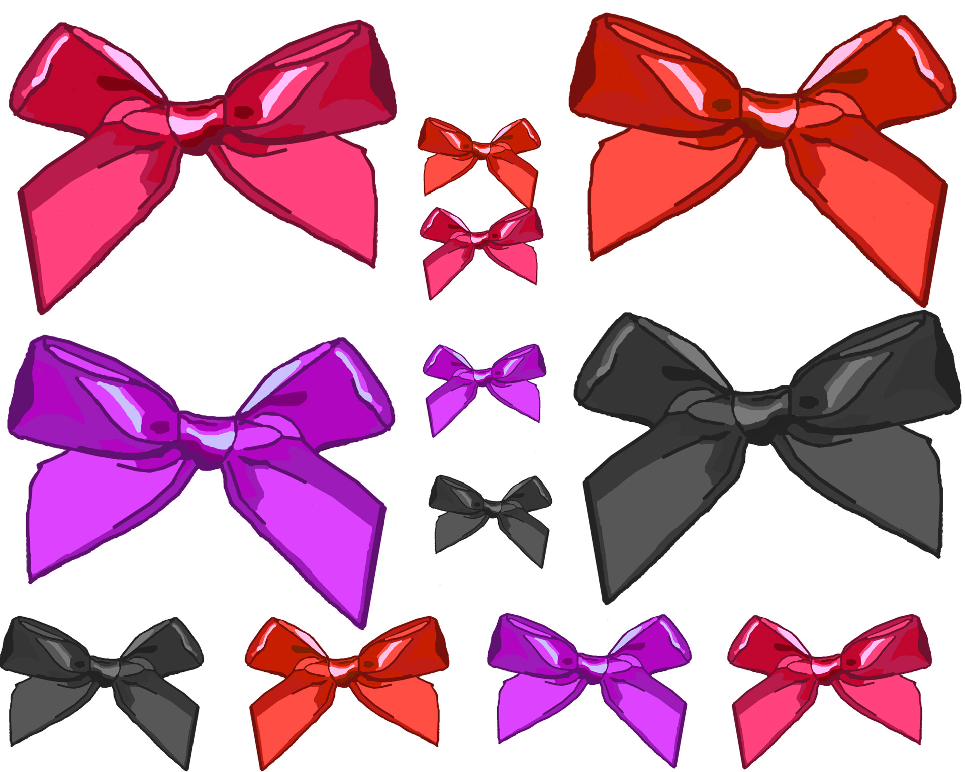 Various Size Clip Art Bows Free Stock Photo.