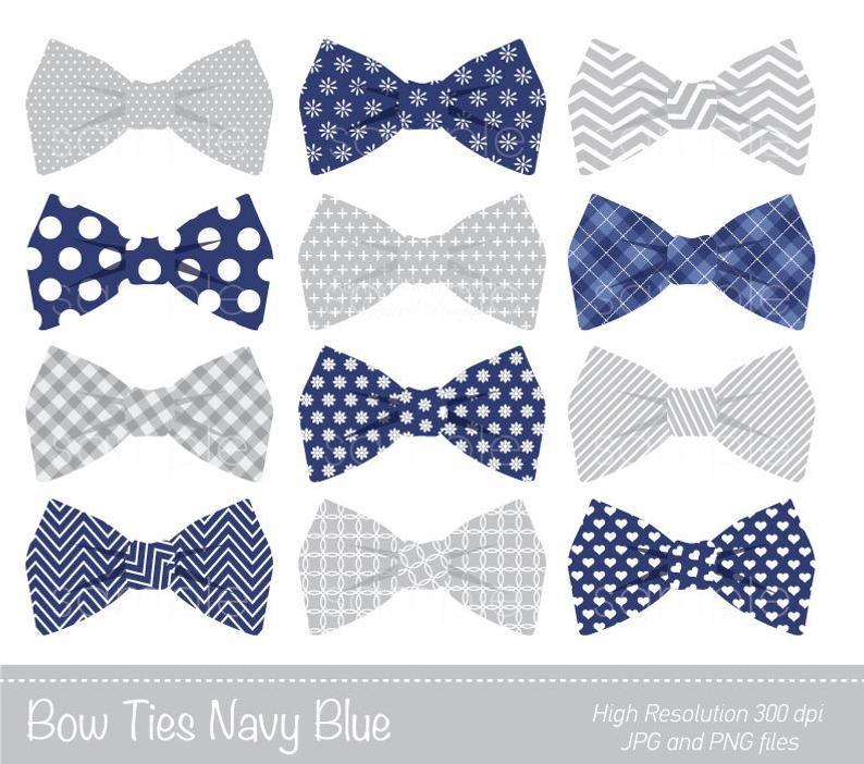 Bow Ties Clipart Bowtie Clip Art Navy Blue Grey Personal Etsy Good.