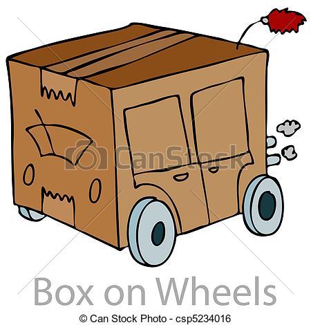 Clip Art Vector of Box on Wheels.