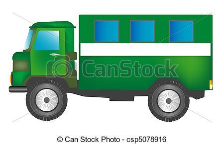 Clip Art Vector of Green cargo car with box.