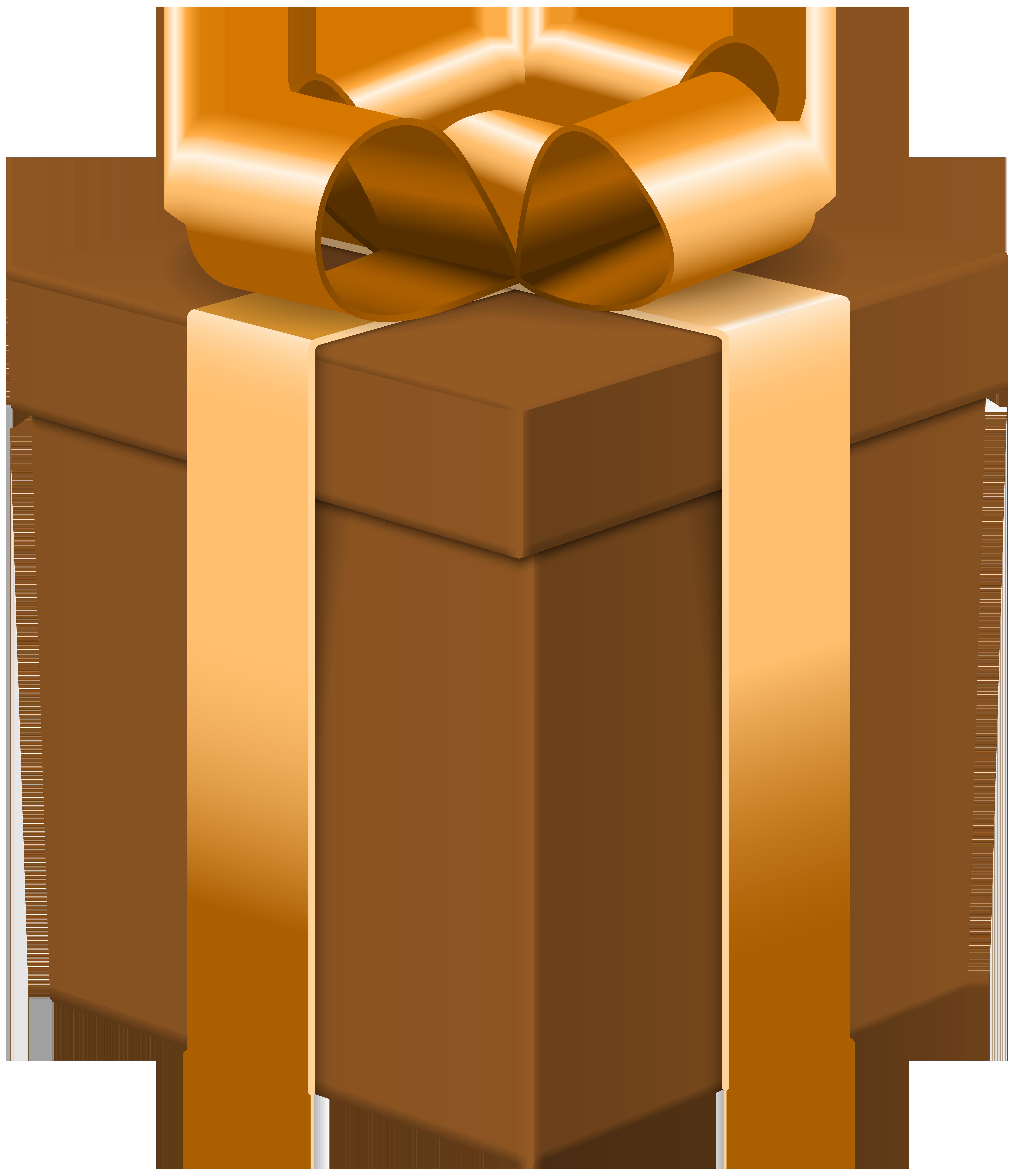 Gift Box Brown Transparent Clip Art Image.