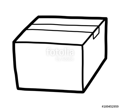 Parcel Box Cartoon Vector And Illustration Black White Hand Awesome.