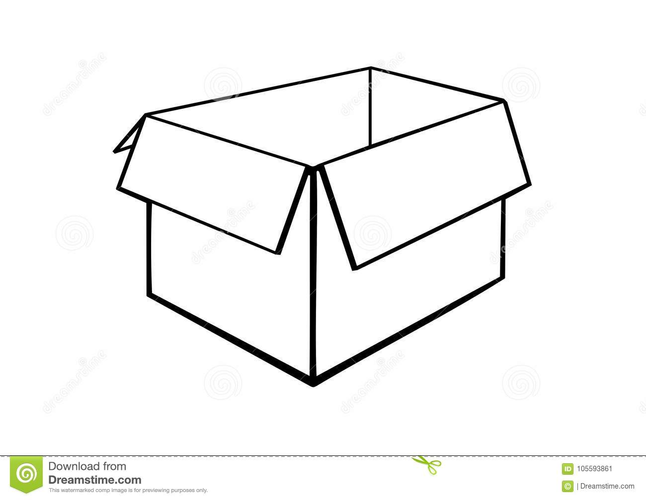 An opened cardboard box. stock vector. Illustration of cardboard.