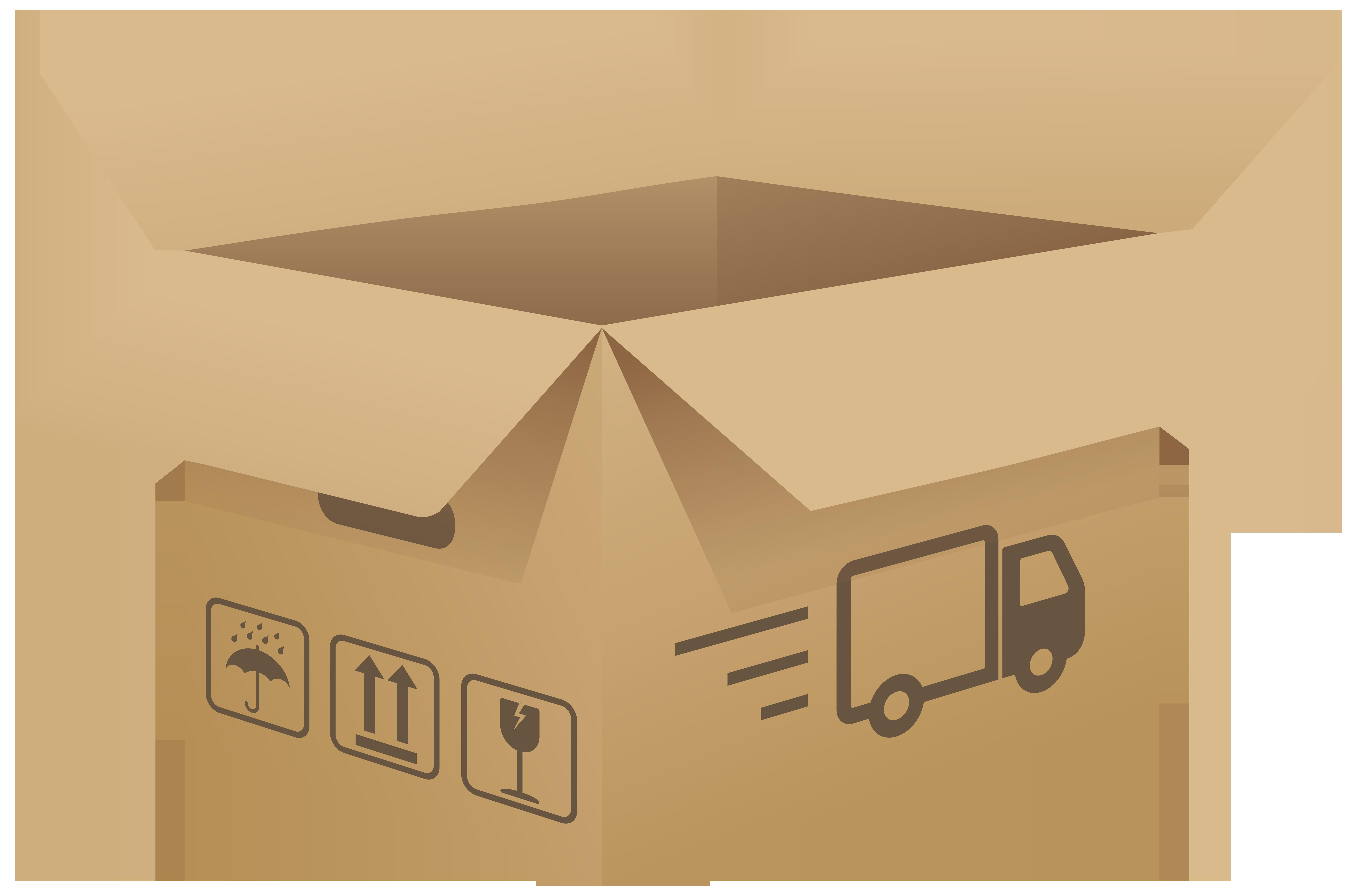 Open Cardboard Box PNG Clip Art Image.