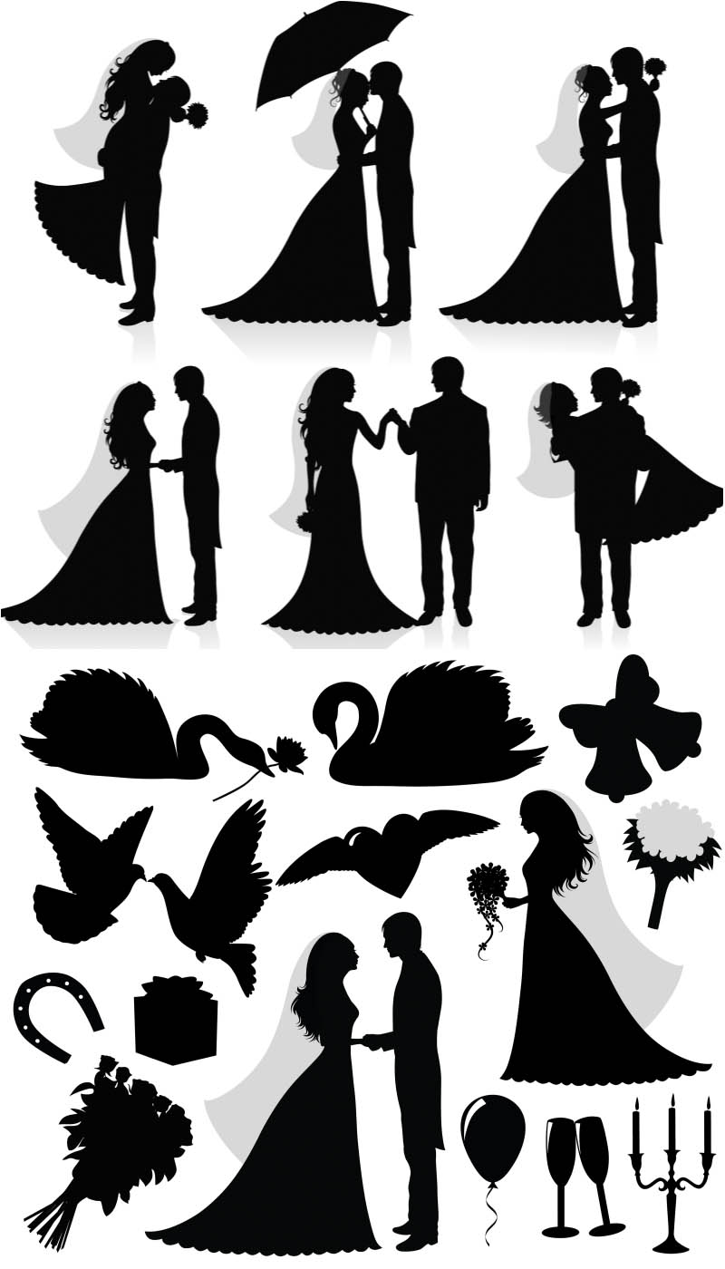 Silhouette newlyweds vector.
