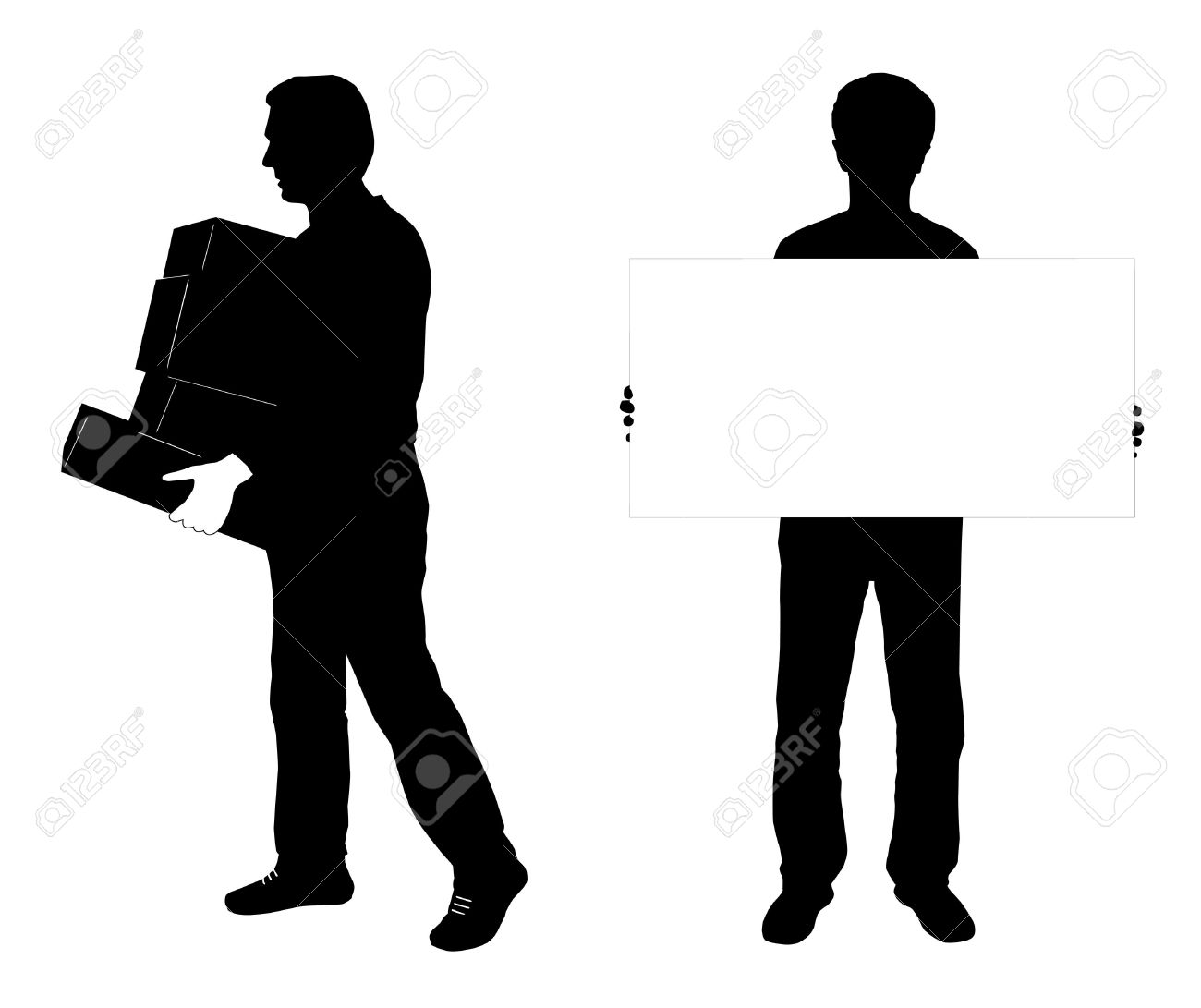 Vector Silhouette Of Two Man, One Carrying Boxes , Other Holding.