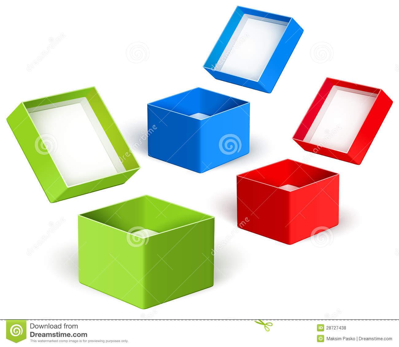 Open Color Boxes. Vector Royalty Free Stock Photos.