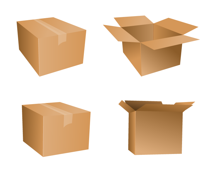 Free Vector Cardboard Box Icons.
