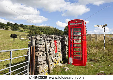 Stock Photograph of Red telephone box in the English Lake District.