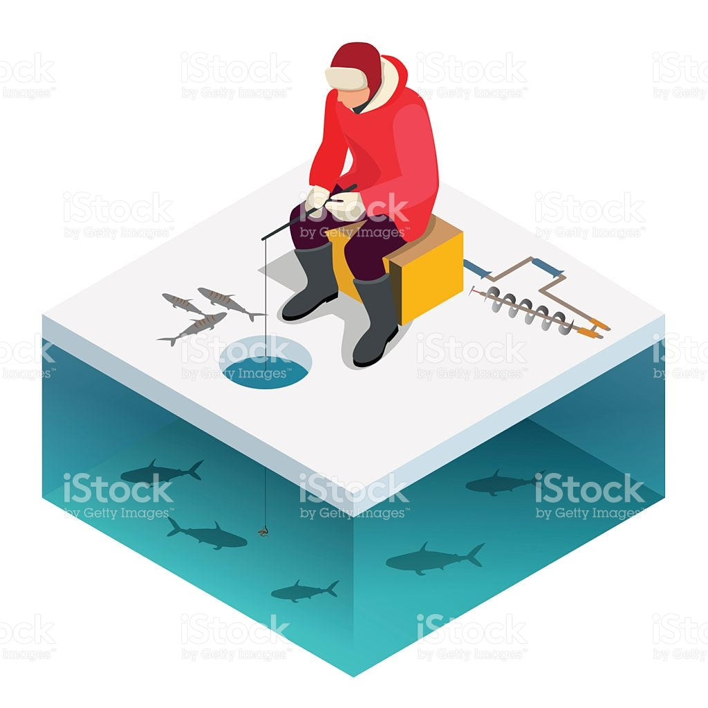 Man Ice Fishing On A Lake In Winter stock vector art 617579922.
