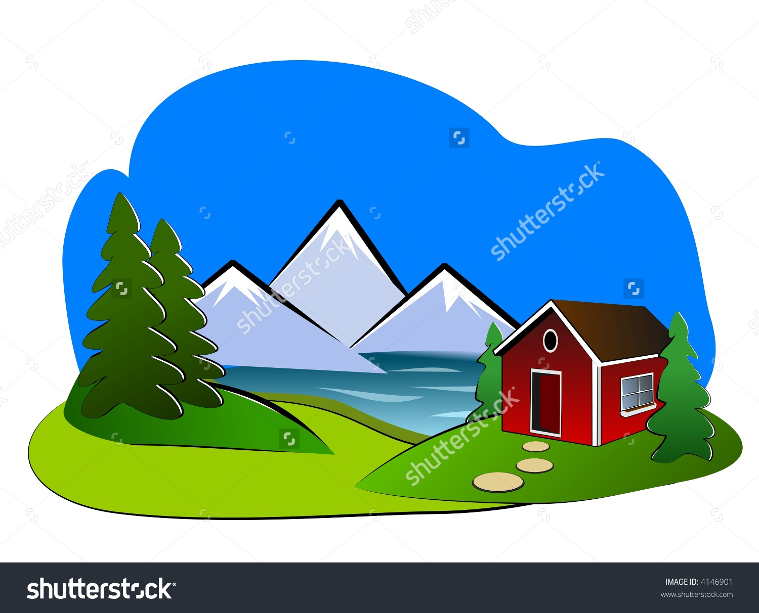 Cottage on lake clipart.