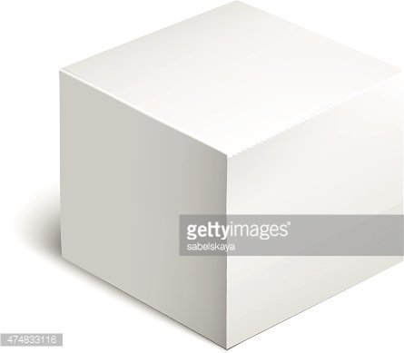 White Package Box. Mockup Template Clipart Image.