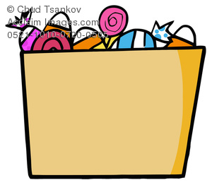 A Cardboard Box Full of Halloween Candy Clipart Image.
