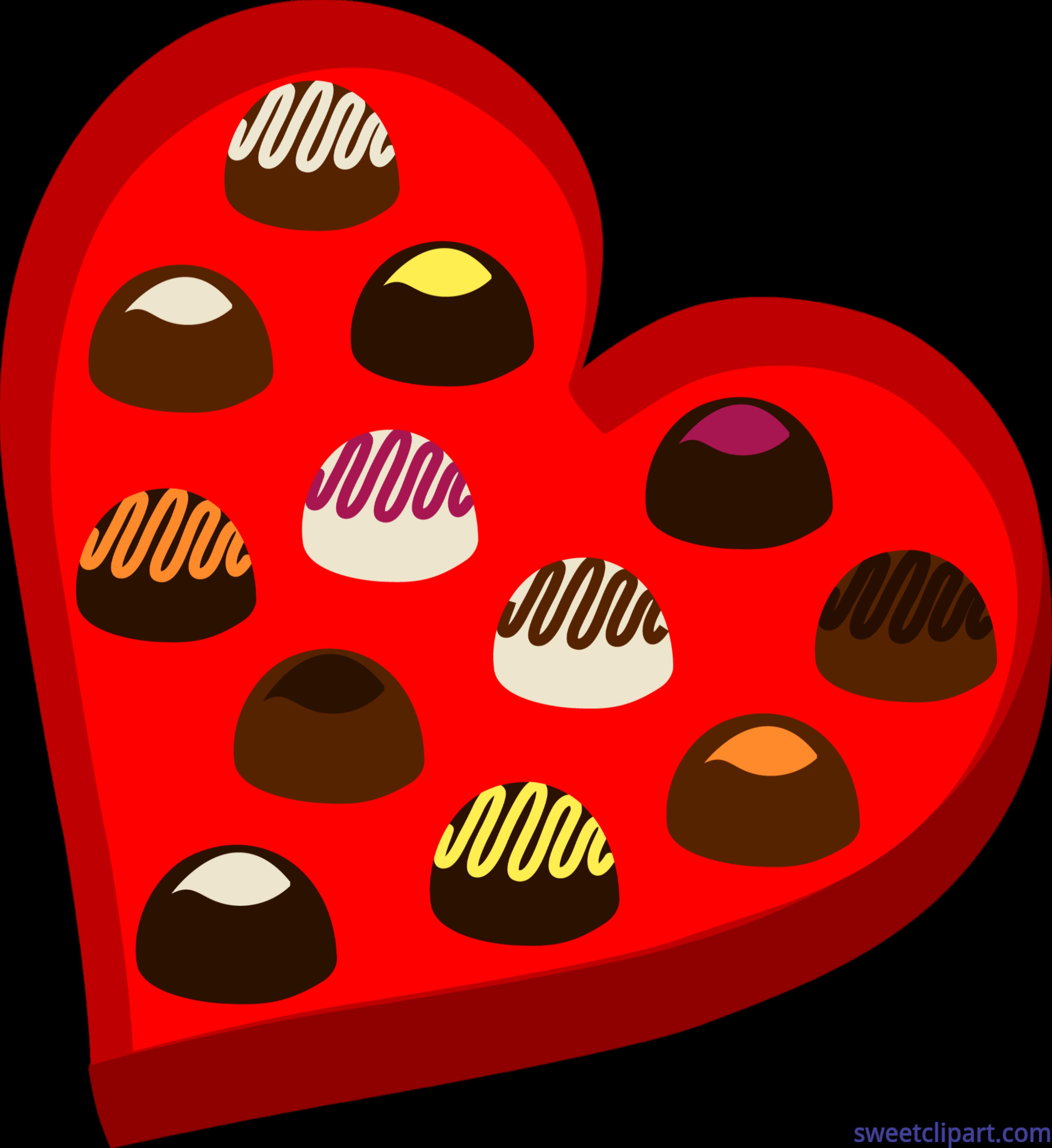 Valentines Chocolate Heart Box Clip Art.