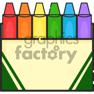 Box of crayons vector art clipart. Royalty.