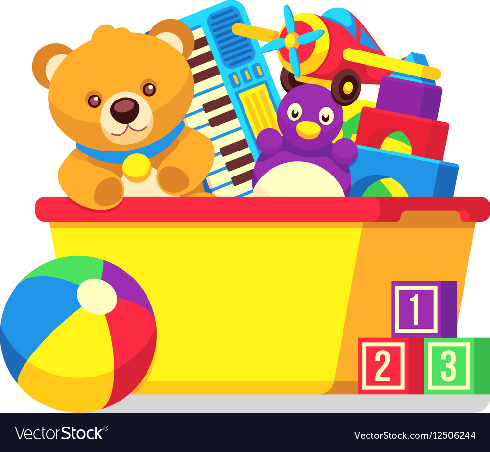 Kids toys in box clipart.