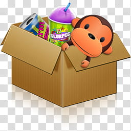 Mega, box of toys transparent background PNG clipart.