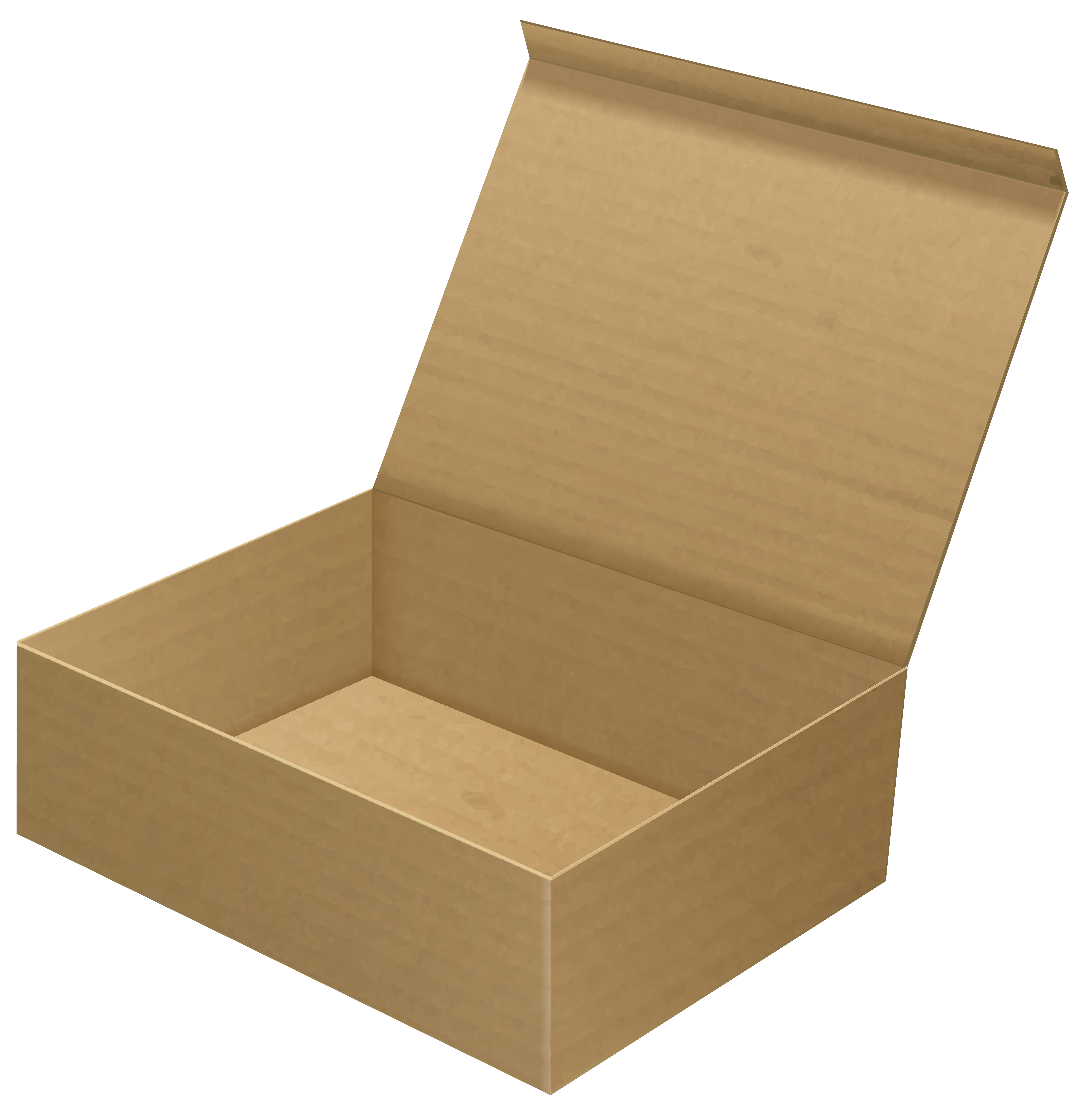 Open Cardboard Box Clip Art PNG Image.