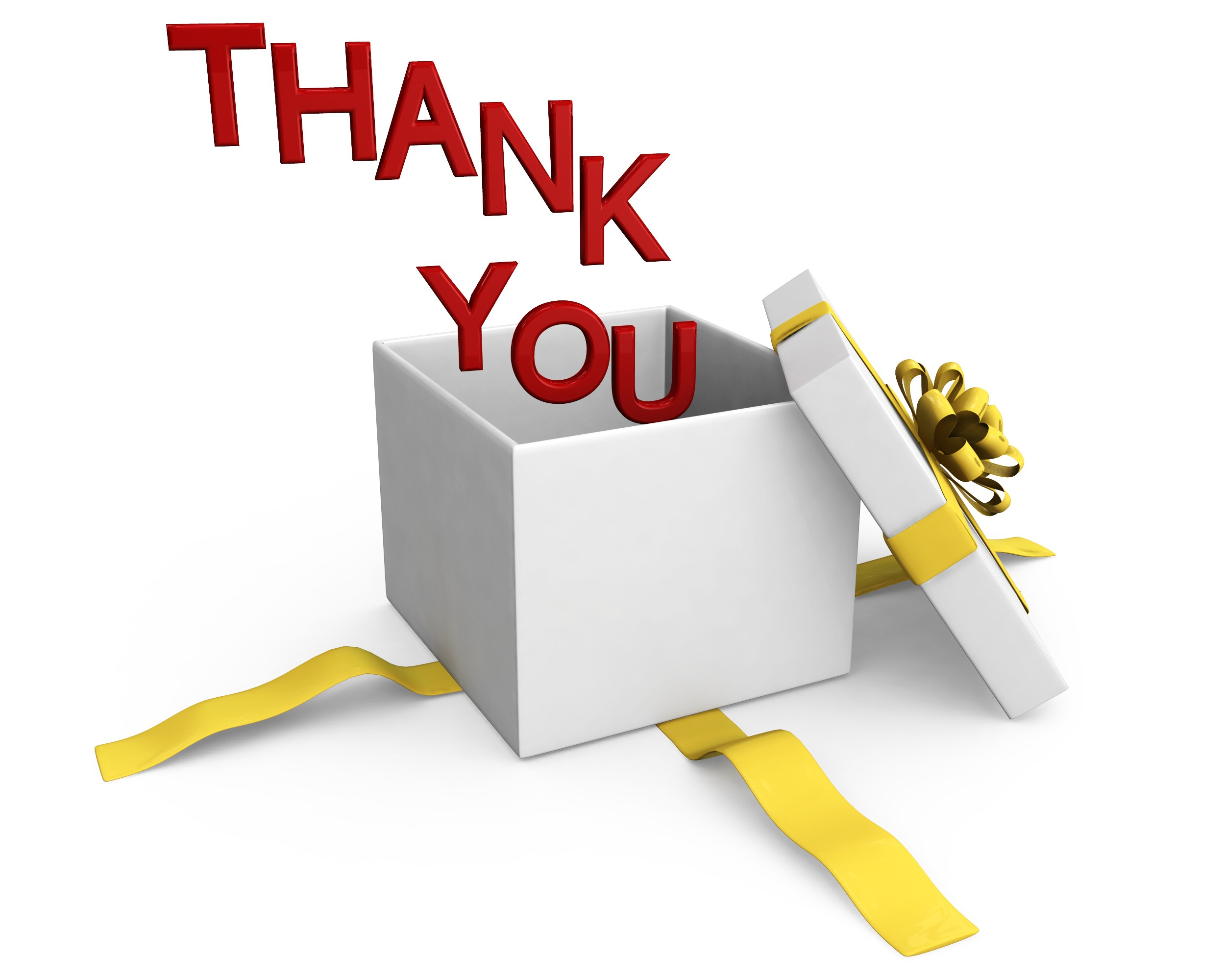 0914 Thank You Words Coming Out Of Gift Box Stock Photo.