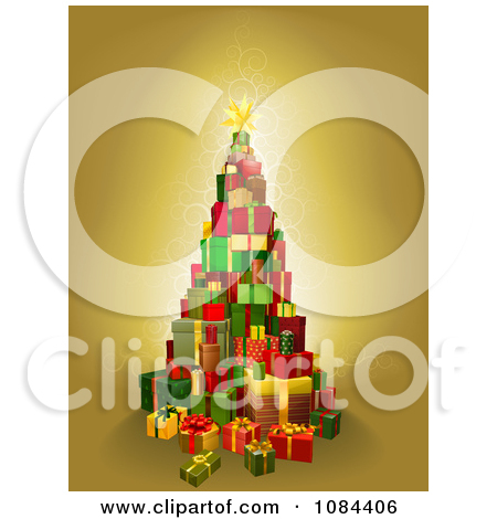 Clipart Christmas Tree Of 3d Gift Boxes On Gold.