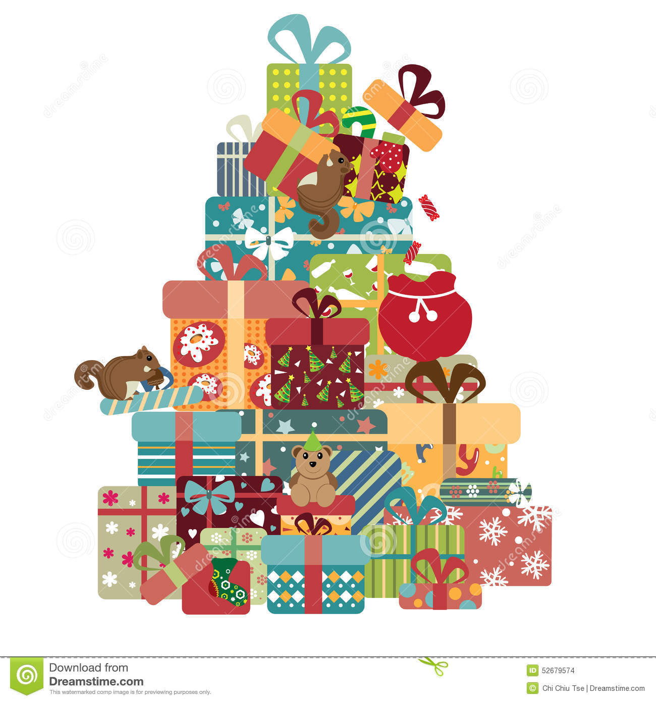 Colorful Gift Box Tree Stock Illustration.