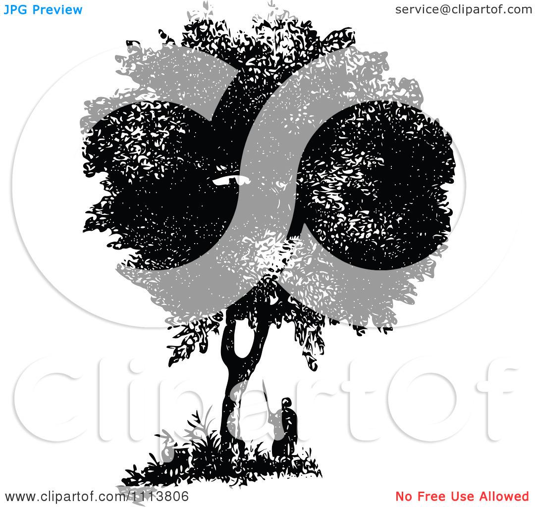 Clipart Retro Black And White Man Under A Box Tree.