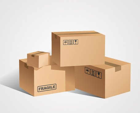 Cardboard Box Vector Set (Free) Clipart Picture.