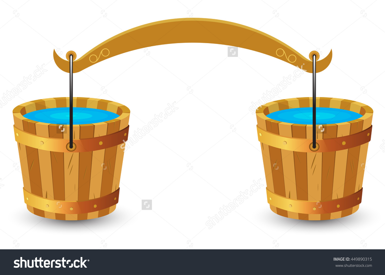 Two Wooden Buckets Clean Drinking Water Stock Vector 449890315.