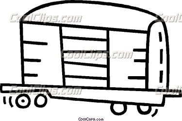 Railroad box car black white clipart.