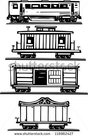 Railroad box car black white clipart.