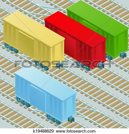 Clip Art of Boxcars in Railyard k19488629.
