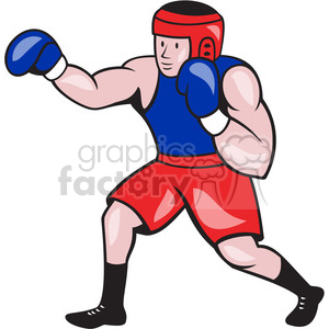 boxer punching side clipart. Royalty.