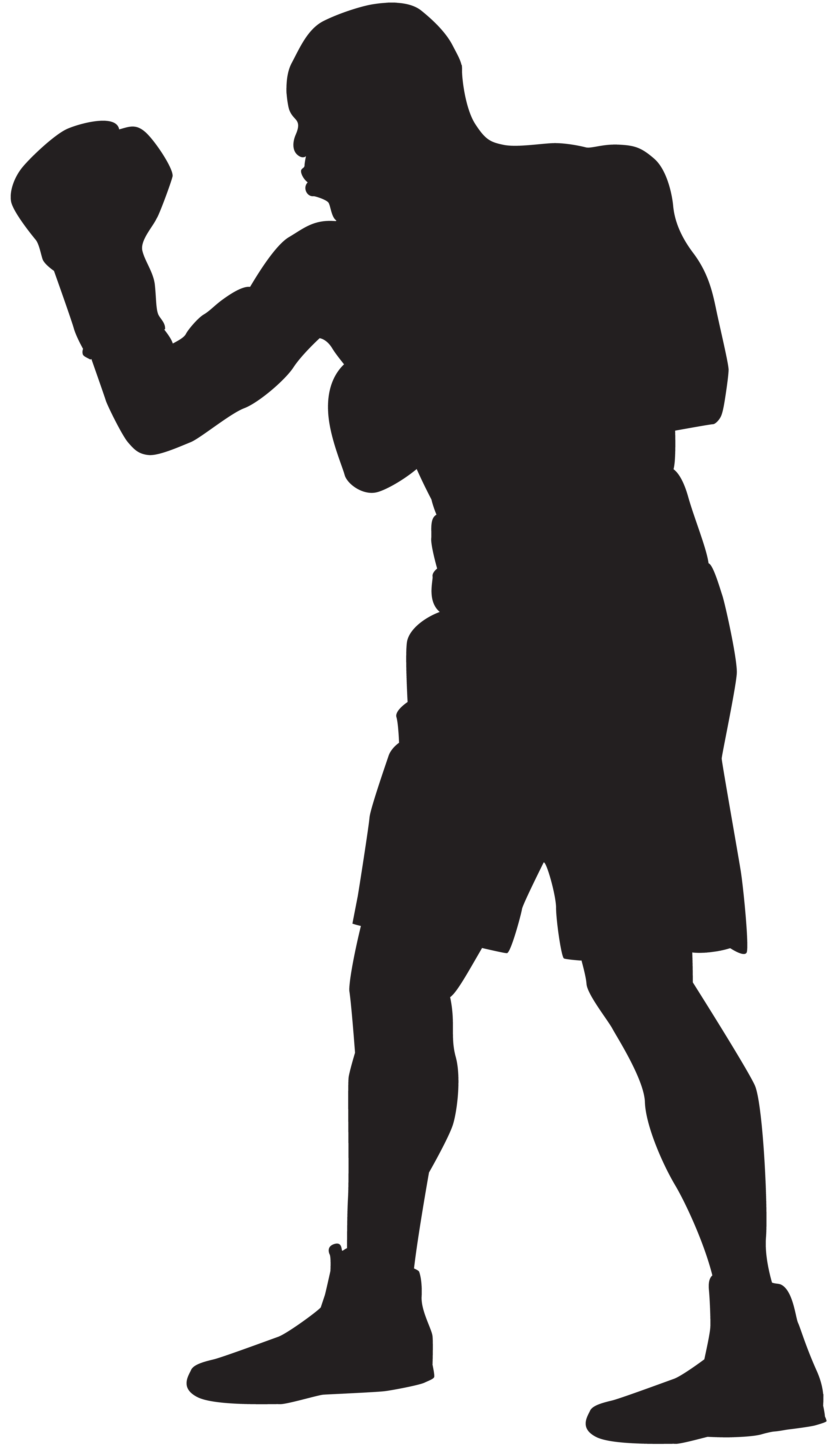 Boxer Silhouette PNG Clip Art Image.