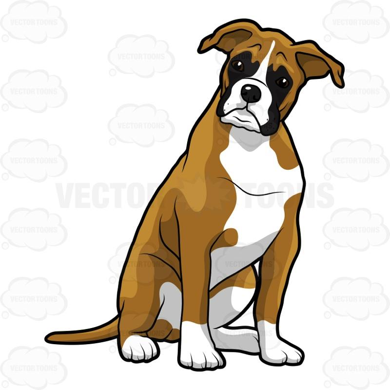 Cartoon boxer dog clipart.