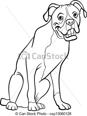 boxer dog cartoon for coloring book.