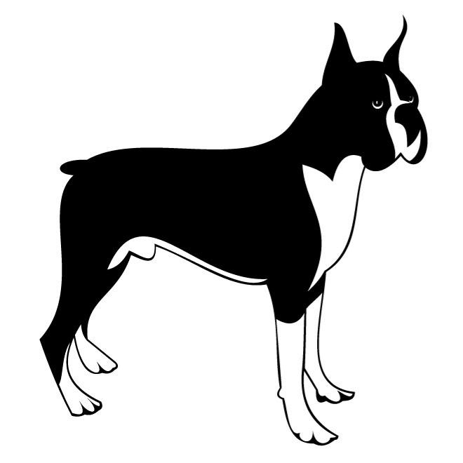 BOXER DOG VECTOR CLIP ART.