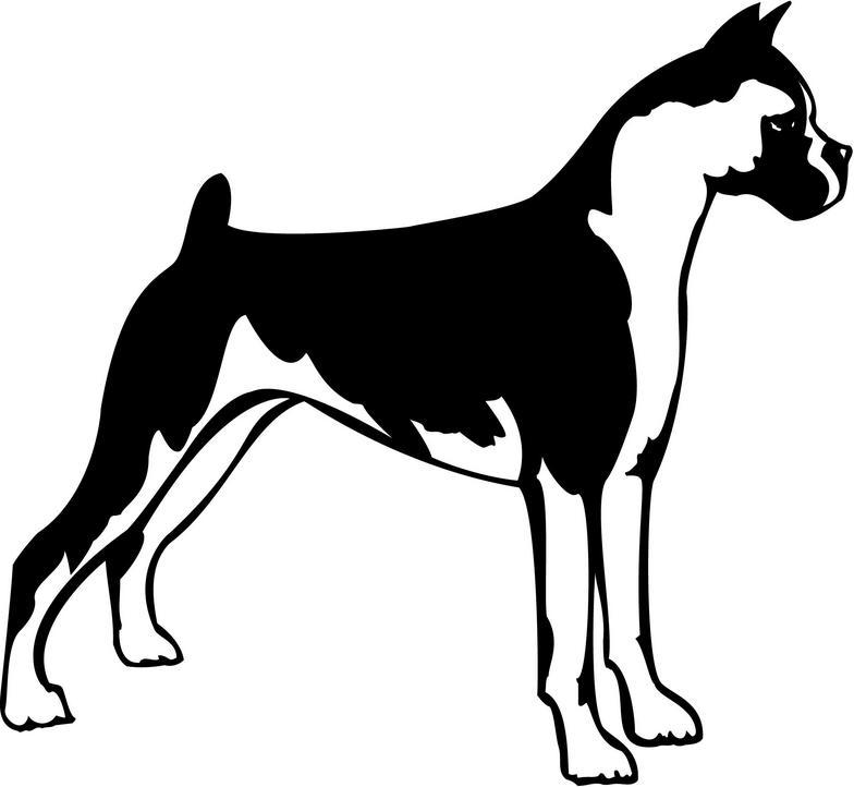 Boxer Dog Silhouette Clipart.
