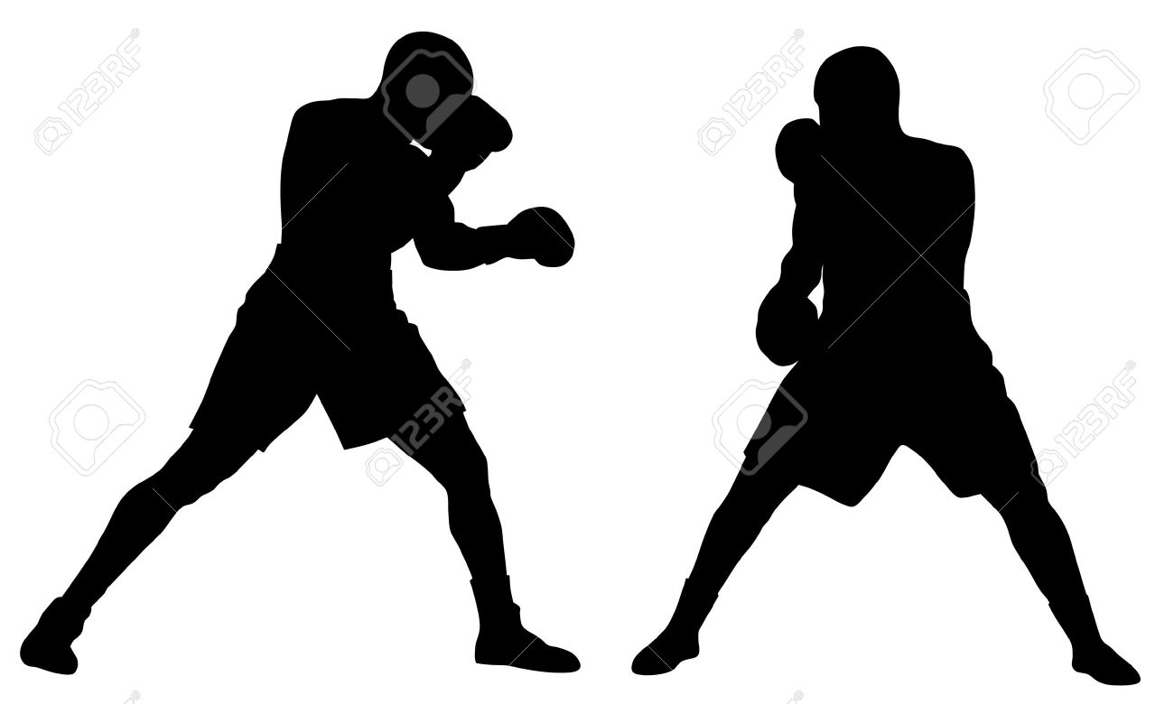 Abstract Vector Illustration Of Boxing Men Silhouettes Royalty.