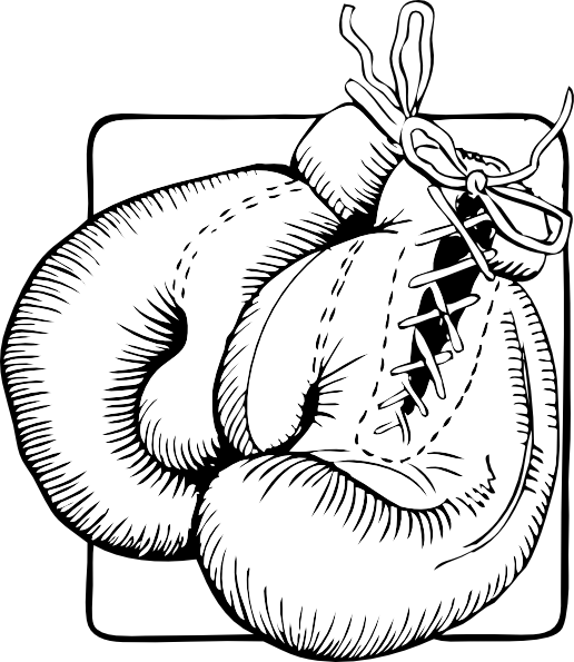 Boxing Gloves Outline clip art Free Vector / 4Vector.