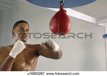Picture of Boxer hitting punching speed bag in gym, head and.